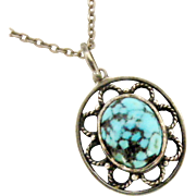 Sterling silver turquoise matrix arts and crafts pendant and chain