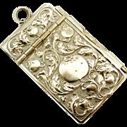 Antique French art nouveau carnet de bal silver plate.