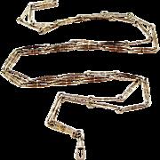 Jugendstil white metal 54 inch muff chain