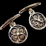 French vintage silver filigree cufflinks