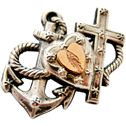 Antique French silver and rose gold faith hope and charity brooch.