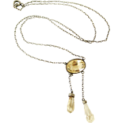 French antique silver and pale citrine negligee necklace