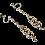 Edwardian sterling silver paste long dangling earrings
