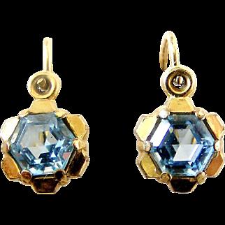 Little art deco gold filled blue paste dormeuse earrings