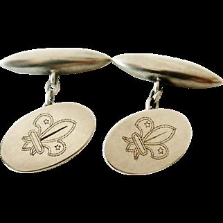 English Edwardian sterling silver Scout Cufflinks