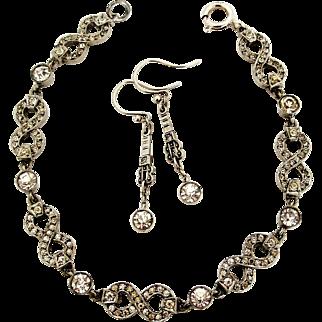 Art deco sterling silver demi parure paste earrings and bracelet