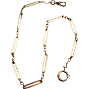 On Hold for SD French antique 800-900 silver watch chain with rose gold connecting links