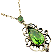 Antique French silver and green paste necklace
