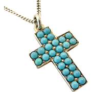 Victorian pave set turquoise cross in sterling silver 1898