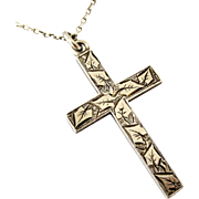 Victorian solid sterling silver Cross 1890 on original chain