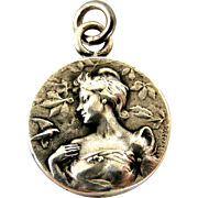 French art nouveau silver charm by Emile Dropsy
