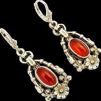 Beautiful Italian 800 silver Carnelian earrings