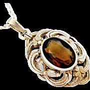 German jugendstil sterling silver smoky quartz pendant