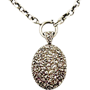 Large repousse sterling silver locket and collar
