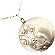 French art nouveau 800-900 silver mistletoe locket and chain