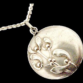 French art nouveau 800-900 silver mistletoe locket and chain