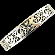 French art nouveau 800-900 silver hinged bangle bracelet