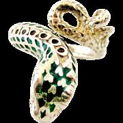 Unusual sterling silver enamel snake ring