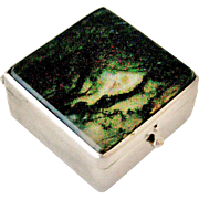 French moss agate stamp box with original French stamps