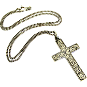 English antique sterling silver engraved cross and chain