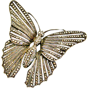 Beautiful vintage sterling silver and marcasite butterfly brooch