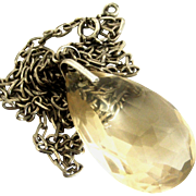 French 800-900 silver long chain and citrine pear cut pendant