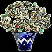 Edwardian sterling silver marcasite and enamel giardinetti brooch