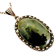 Vintage Irish sterling silver Connemara marble and marcasite pendant and chain
