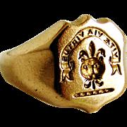 Antique Victorian seal signet ring Watkins crest, museum worthy piece !