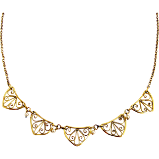 French art deco gold filled filigree necklace