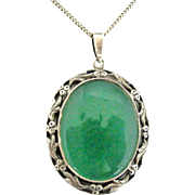 Fabulous large sterling silver and green chrysoprase pendant Shipton and Co