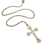 Vintage sterling silver engraved cross and chain
