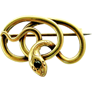 French FIX 18k gold fill snake brooch