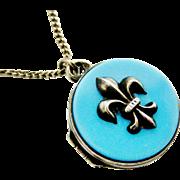 Antique French fleur de lis locket and chain