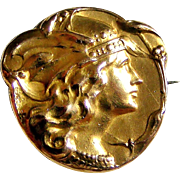 French art nouveau 18k gold fill Minerva brooch by FIX