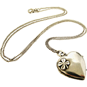French antique art nouveau 800-900 silver heart locket and chain, lucky 4 leaf clover