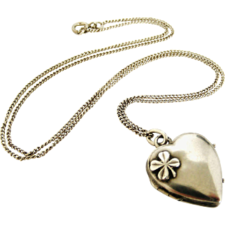 Lovely French antique 800-900 silver heart locket and chain, lucky 4 leaf clover