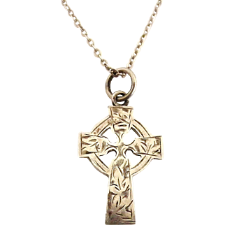 Edwardian sterling silver celtic cross and chain , Chester hallmark
