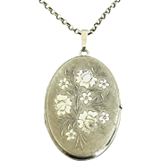Vintage European sterling silver heavy locket and chain