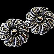 Vintage sterling silver marcasite hook in flower earrings