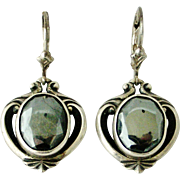 French art nouveau to deco sterling silver and hematite earrings, REDUCED due to tiny flaw.