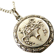 Delightful French art nouveau 800-900 silver flower basket locket and chain
