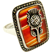 Beautiful banded agate carnelian thistle ring with marcasites