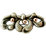French art nouveau 800-900 silver and rose gold mistletoe brooch