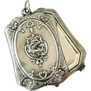French art nouveau silver plated slide mirror locket, Salamander with Crown.