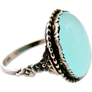 Edwardian sterling silver cocktail ring with aqua agate