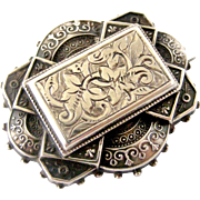 Beautiful English sterling silver engraved locket back brooch 1882