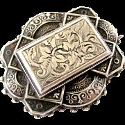 Beautiful English sterling silver engraved locket back brooch 1882