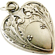French art nouveau 800-900 silver holly puffy heart charm, perfect for Christmas