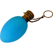 Antique French blue glass chatelaine bottle